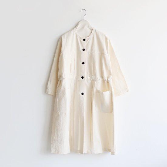 Atelier d'antan  ノーカラープリーツコート〈 Leiris 〉Natural | A232192TC390