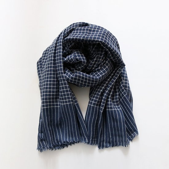 S.K Overseas<br>ウールストール<br>Blue×White