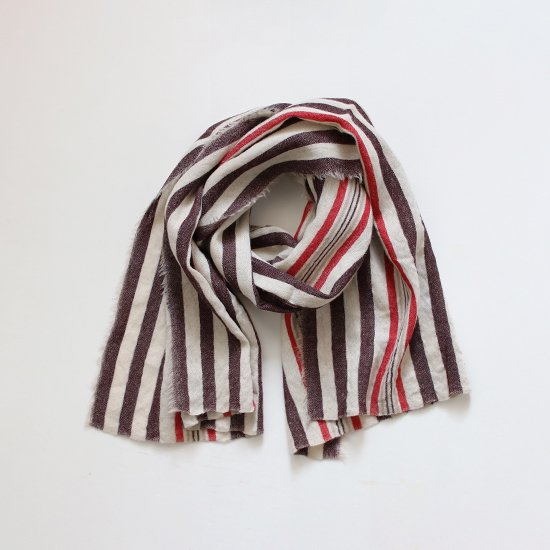 Khadi and Co.<br>ウールスカーフ<br>Brown Stripe
