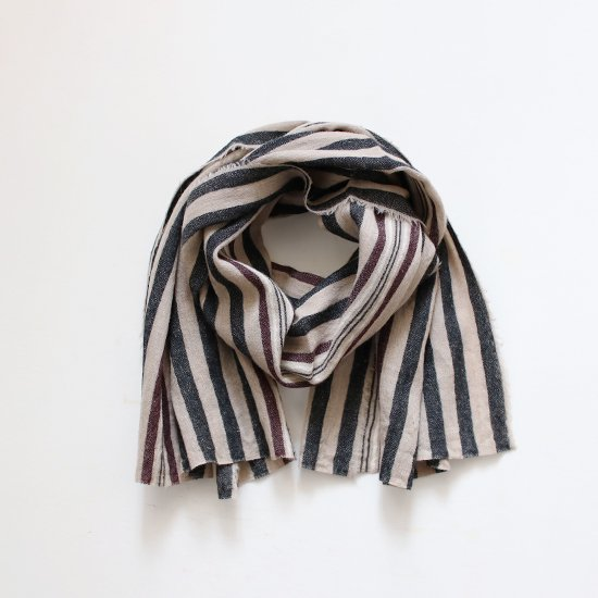 Khadi and Co.<br>ウールスカーフ<br>Black Stripe