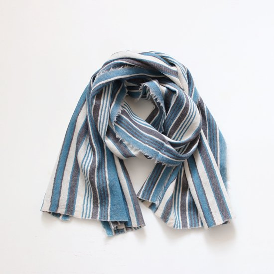 Khadi and Co.<br>ウールスカーフ<br>Blue Stripe