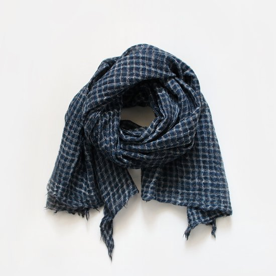 Khadi and Co.<br>ウールスカーフ<br>Blue Check