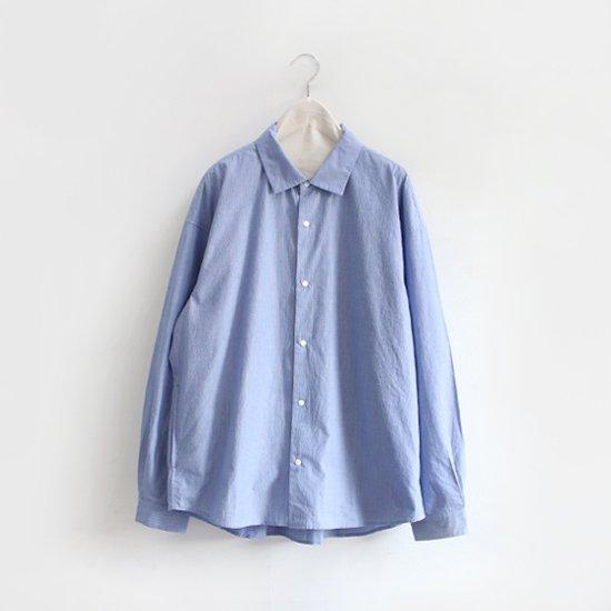 Yaeca<br>コットンシルクシャツ<br>Blue Stripe
