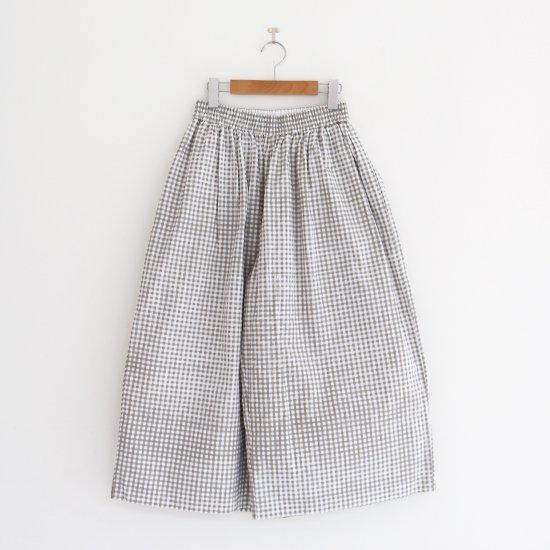Aodress | ハンドプリントワイドパンツ White x Grey Check | D115201PP002