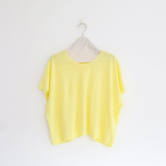 Atelier d'antan<br>リネンニットフレンチスリーブ<br>〈 Sabina 〉<br>Yellow