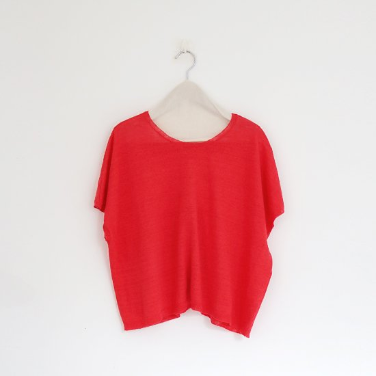 Atelier d'antan<br>リネンニットフレンチスリーブ<br>〈 Sabina 〉<br>Red