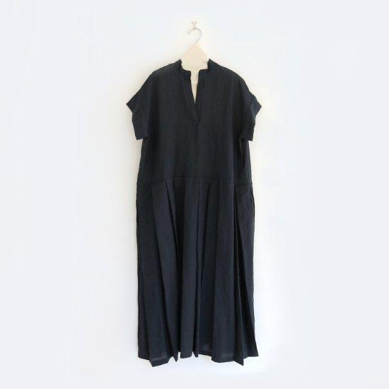 Style+confort | リネンフレンチスリーブワンピース Navy | F007201TD175