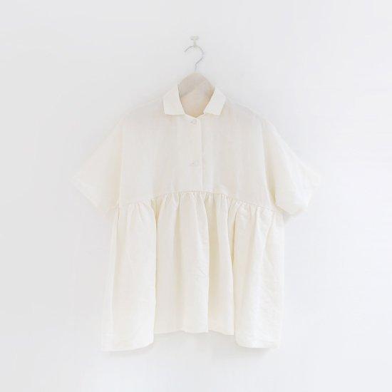 Atelier d'antan   リネンギャザーブラウス〈 Breton 〉White   A232201TS401