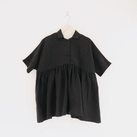 Atelier d'antan | リネンギャザーブラウス〈 Breton 〉 Black | A232201TS401