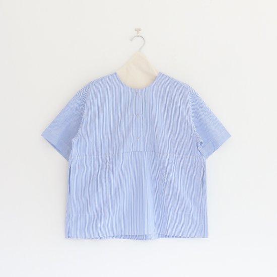 Charpentier de Vaisseau | 3リングボタンシャツショートスリーブ〈 Selma 〉White x Light Blue Stripe | C003171TS180