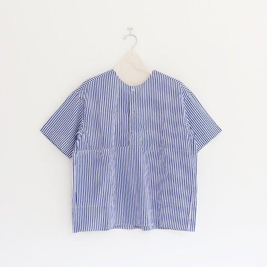 Charpentier de Vaisseau | 3リングボタンシャツショートスリーブ〈 Selma 〉White x Navy  Stripe | C003171TS180
