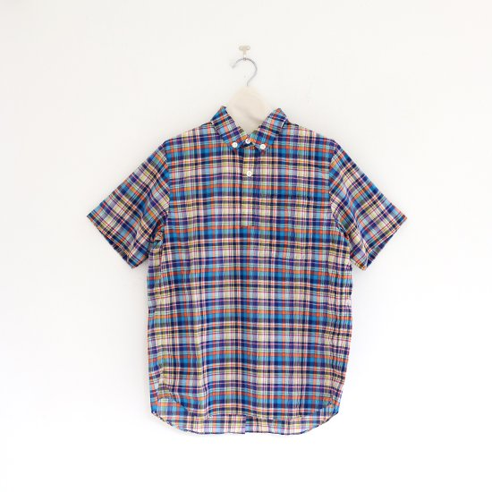 Charpentier de Vaisseau | ボタンダウンショートスリーブシャツ〈 Stewart 〉 Blue x Orange Check | C003201TS355