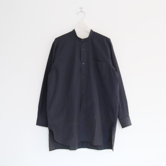 Comoli | バンドカラーシャツ Navy | F035202TS127