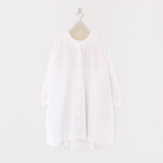 Atelier d'antan | ノーカラーロングシャツ〈 Seton 〉White | A232202TS468