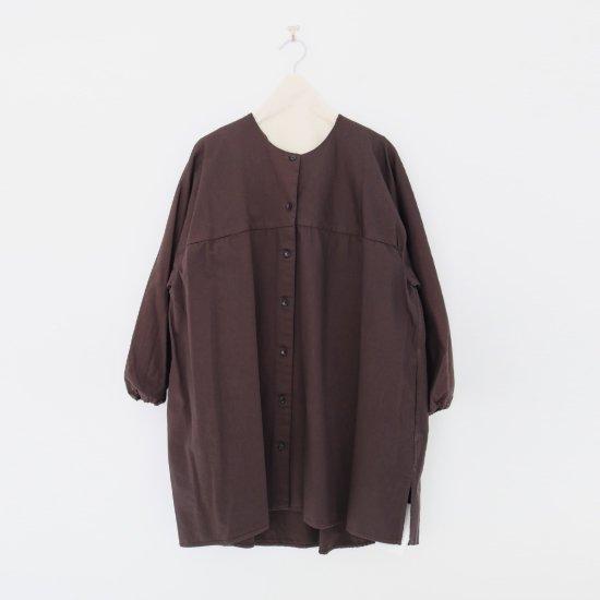 Atelier d'antan | ノーカラーロングシャツ〈 Seton 〉Brown | A232202TS468
