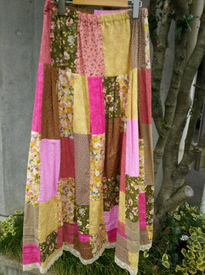 COTTON CARICO PATCHWORK LONG SKIRT #1