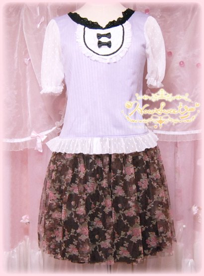 Rose-tulle Skirt*-HowSweet-コーデ1