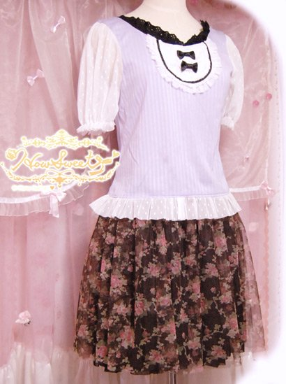 Rose-tulle Skirt*-HowSweet-コーデ2