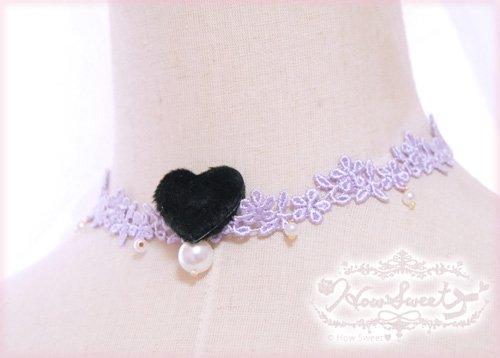 【HowSweet*】Heart Lace Choker*[lavender]着画