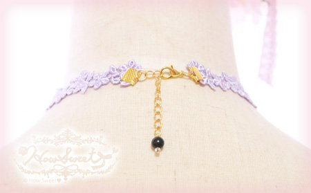 【HowSweet*】Heart Lace Choker*[lavender]後ろ