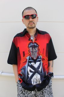 MARVEL COMICS THE PUNISHER RAYON S/S SHIRT(パニッシャー 総柄 レーヨン シャツ)