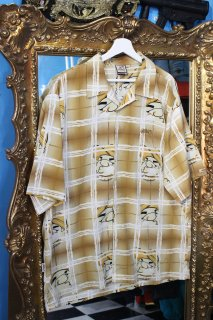 SOUTH POLE CHECK OVER REYON  S/S OPEN SHIRT(サウス ポール オーバーチェック柄 レーヨン 開襟 シャツ)