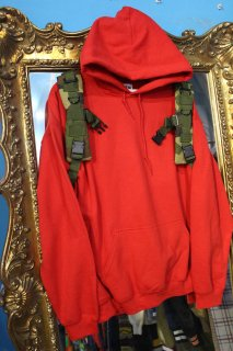 REMAKE BAG PACK HOODIE RED(リメイク バッグパック フーディー)
