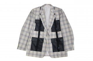 REMAKE LEATHER POCKET CHECK TAILORED JACKET(リメイク レザー ポケット チェック テーラード ジャケット)