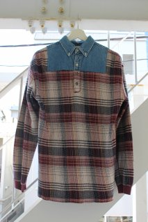 REMAKE CHAMBRAY×HOUNDSTOOTH PATTERN L/S SHIRT(W,RED)