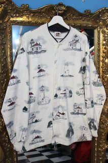 LIGHT HOUSE BUTTON DOWN SWEAT TOPS(灯台柄 ボタンダウン スウェット トップス)
