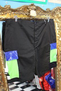 REMAKE ENAMEL CARGO SHORTS(BLACK)