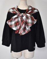 n229048A_bk T/R tartan check ribbon T-shirt