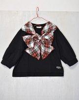n229048_bk T/R tartan check ribbon T-shirt