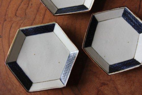 ■高島大樹:六角小皿(市松大)