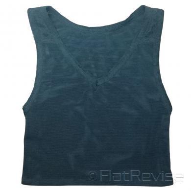 メッシュ製ナベシャツ Vネック ショート ブラック