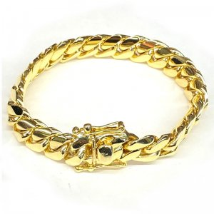 MIAMI CUBAN CHAIN BRACELET 10K YG 12mm 20cm