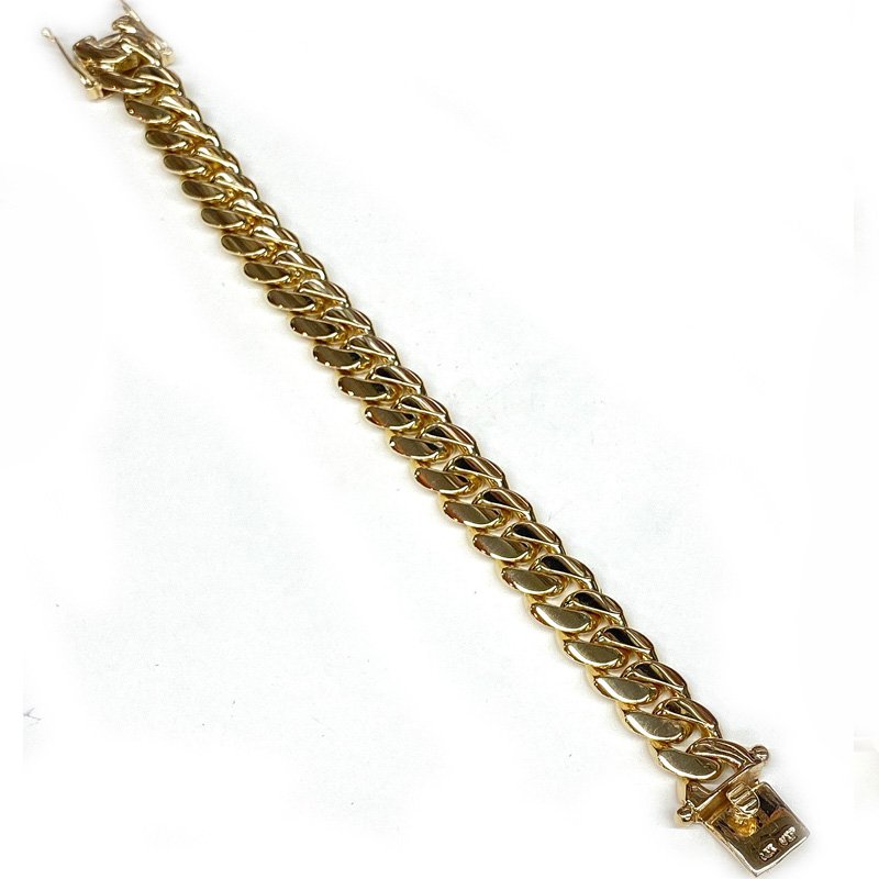 MIAMI CUBAN CHAIN BRACELET 14K YG 13.5mm 20.5cm
