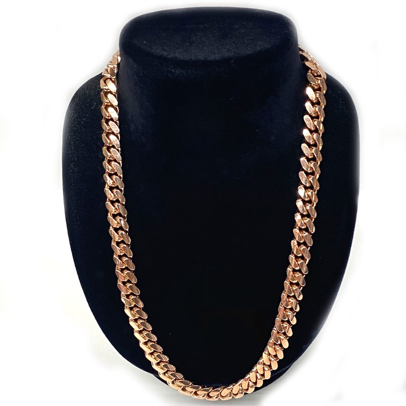 MIAMI CUBAN CHAIN 10K Rose Gold 10.5mm,50cm 【SOLID】