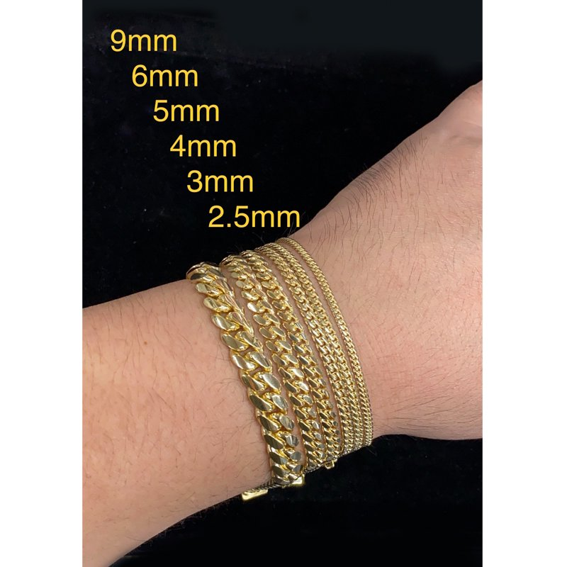 MIAMI CUBAN CHAIN BRACELET 10K YG 3mm 20cm