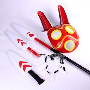 もののけ姫 サン 風 マスク 矛(ほこ) ネックレス コスプレ小道具 Princess Mononoke San Cosplay Props Accessories Mask