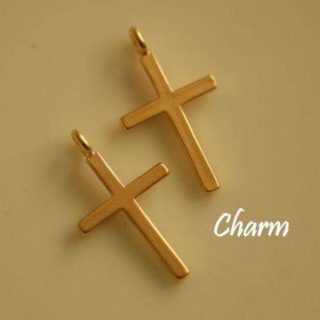 【ハンドメイドパーツ素材】アンティーク風・メタルチャーム・デコ・K14GPゴールド・十字架【BO51】