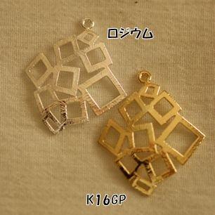 【ハンドメイドパーツ素材】アンティーク風・メタルチャーム・デコ・K16GPゴールド・四角 【BM77】