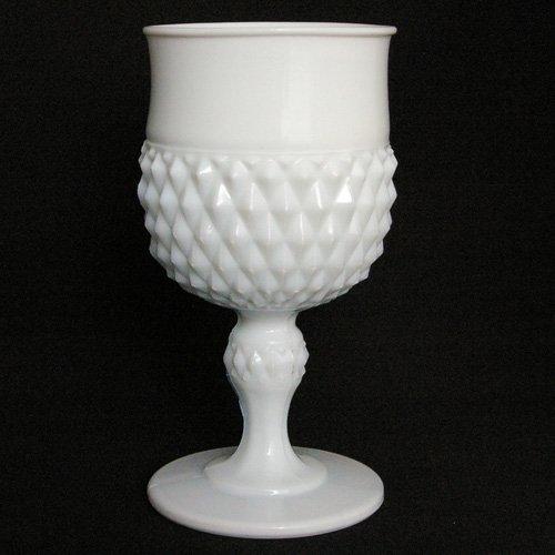 インディアナグラス ダイヤモンドポイント ゴブレット ミルクグラス