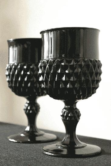 インディアナグラス ダイヤモンドポイント ゴブレット ブラック
