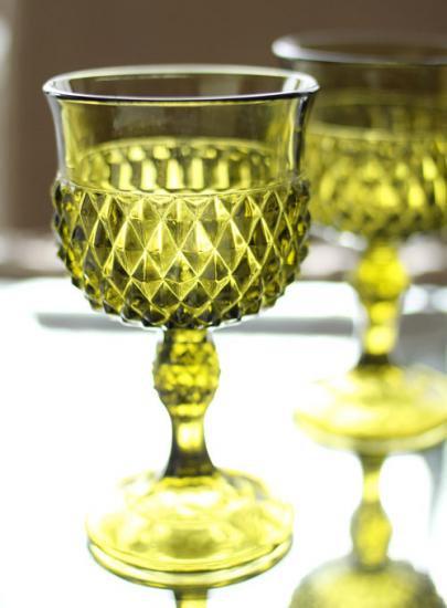 インディアナグラス ダイヤモンドポイント ワイングラス(グリーン)
