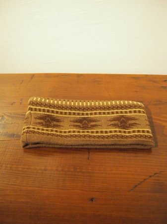 M エム / original native pattern head band brown
