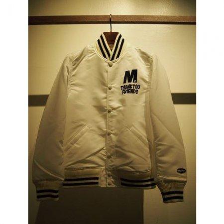 M エム スタジャン / nylon stadium jacket (M×okitsu surfbards×Mie ishii) white