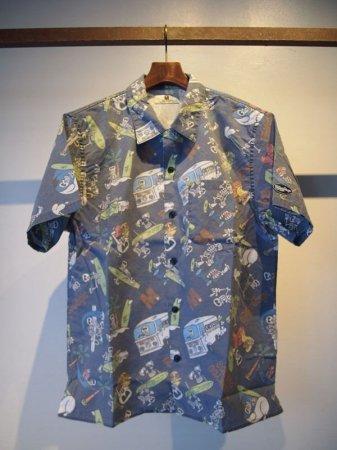 M エム シャツ / endless surfer pattern aloha shirts (M×okitsu surfbards×Mie ishii) navy