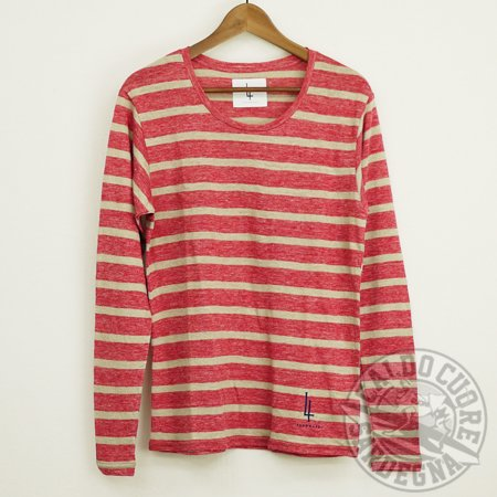 【SUMMER SALE】FOUR HAND フォーハンド / l/s border linen round-neck t-shirts  red