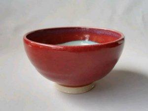 三池焼窯元の赤いご飯茶碗大(辰砂飯碗中白)【還暦や退職などのプレゼントに最適の九州熊本の手作り陶器です】